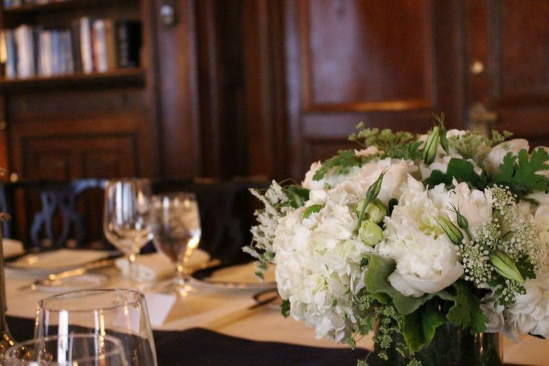 Lotos Club NYC Wedding flower centerpieces by blank slate events floral designers wedding florist