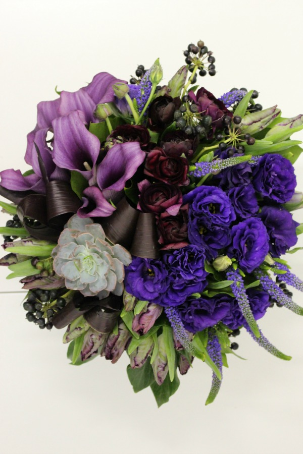Flower Arrangement by Blank Slate Events in Varying Shades of Purple in Honor of Nicole Richie