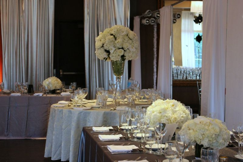 Tall Wedding Centerpieces in white and ivory by Blank Slate Events floral designer nyc