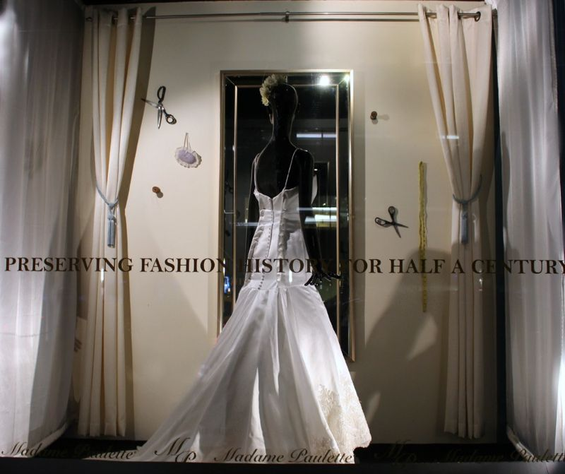 Custom Wedding Gown Alterations Wedding Window Design by Window Dressers Blank Slate Events NYC Event and Floral Designers for Madame Paulette