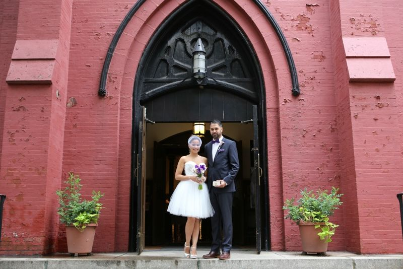 St Charles of Borromeo church in Brooklyn Bride and Groom marired flowers by blank slate events photo by Jerritt Clark Photography